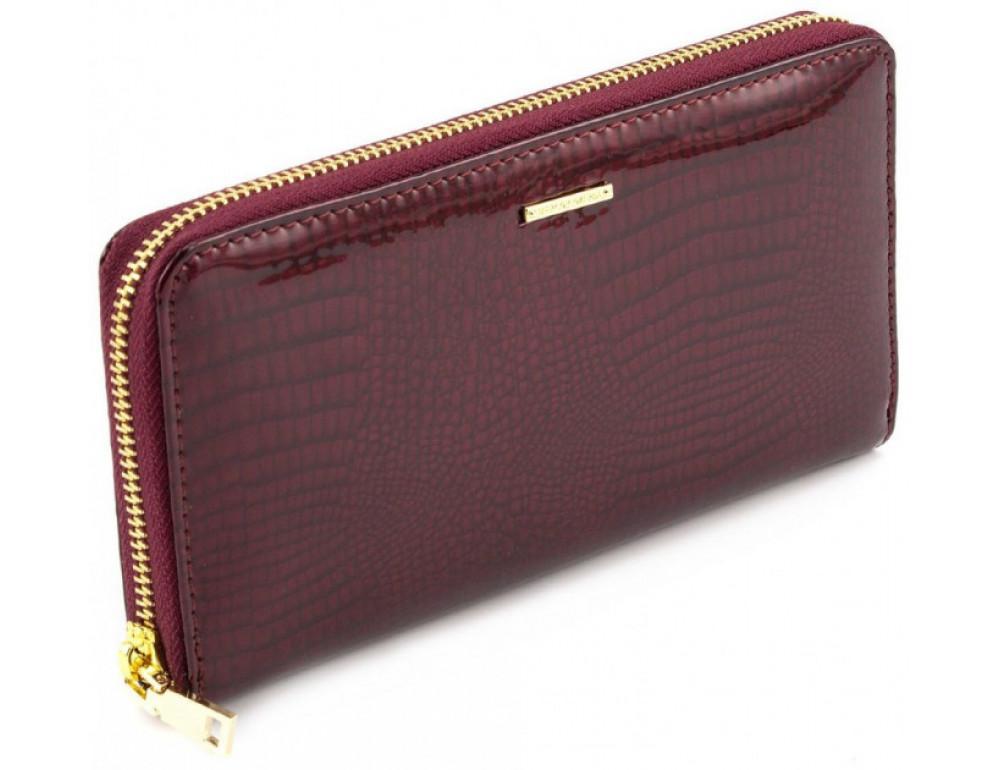 Бордовый лаковый кошелёк на молнии Marco Coverna 403-2500-4 - Фото № 1