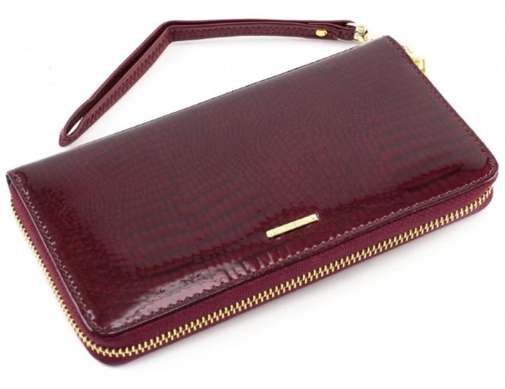 Бордовый лаковый кошелёк на молнии Marco Coverna 403-2500-4 - Фото № 4