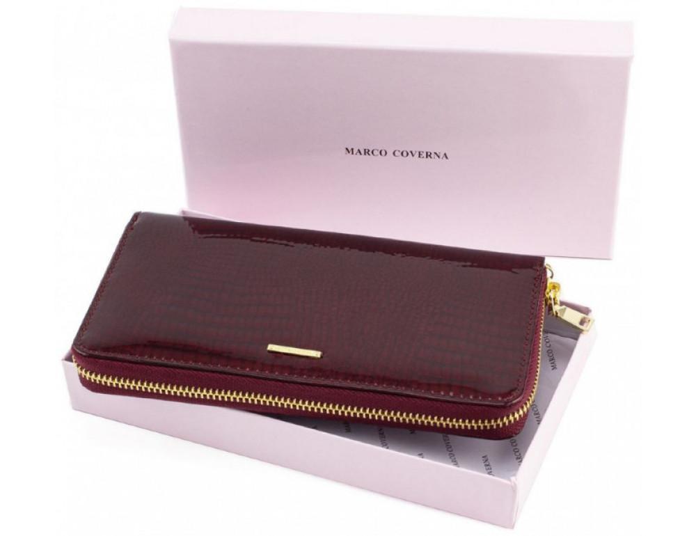 Бордовый лаковый кошелёк на молнии Marco Coverna 403-2500-4 - Фото № 5
