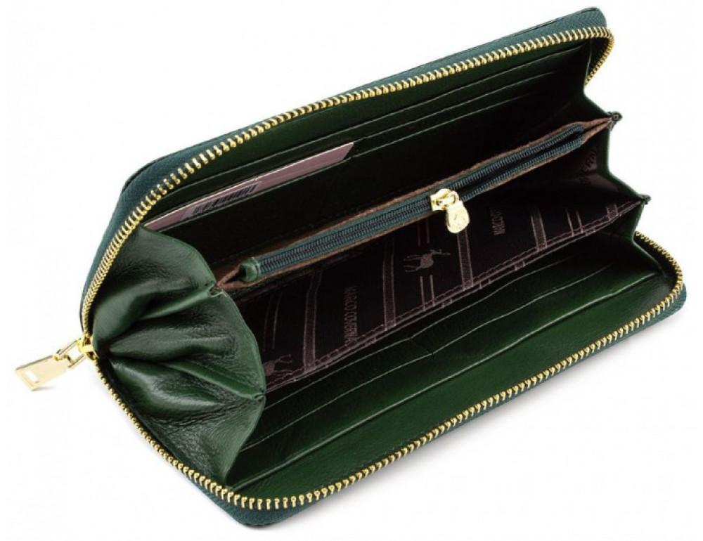 Зелёный кожаный лаковый кошелёк Marco Coverna 403-2500-7 - Фото № 2