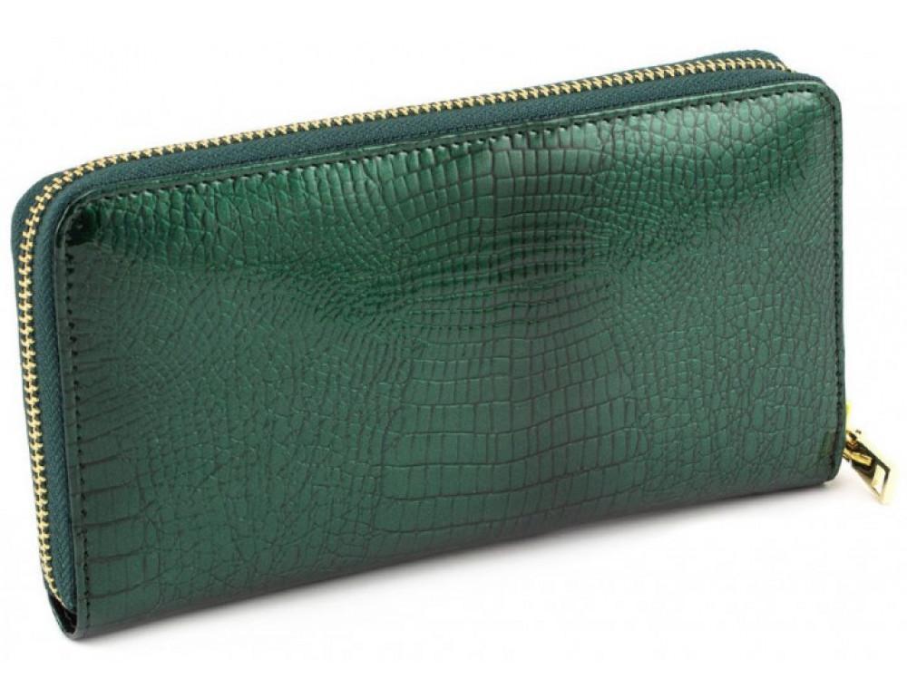 Зелёный кожаный лаковый кошелёк Marco Coverna 403-2500-7 - Фото № 3
