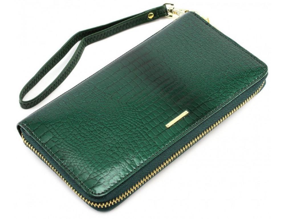 Зелёный кожаный лаковый кошелёк Marco Coverna 403-2500-7 - Фото № 4