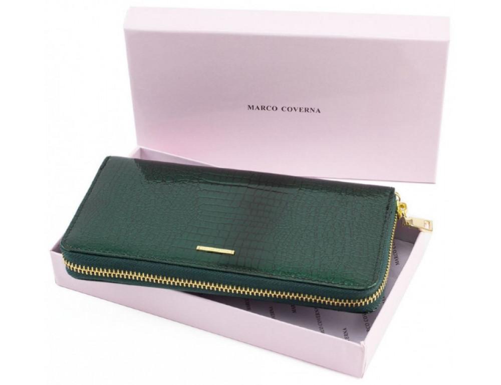 Зелёный кожаный лаковый кошелёк Marco Coverna 403-2500-7 - Фото № 5