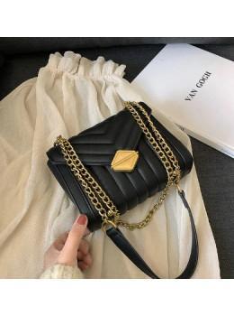 Милая женская сумка через плечо с цепочкой Ramiel 5-1A чёрная