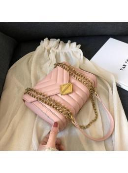 Милая женская сумка через плечо с цепочкой Ramiel 5-1P пудровый