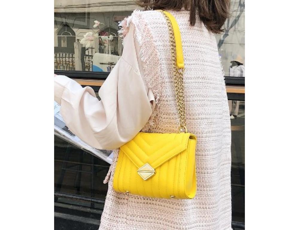 Милая женская сумка через плечо с цепочкой Ramiel 5-1Y Желтая - Фото № 2