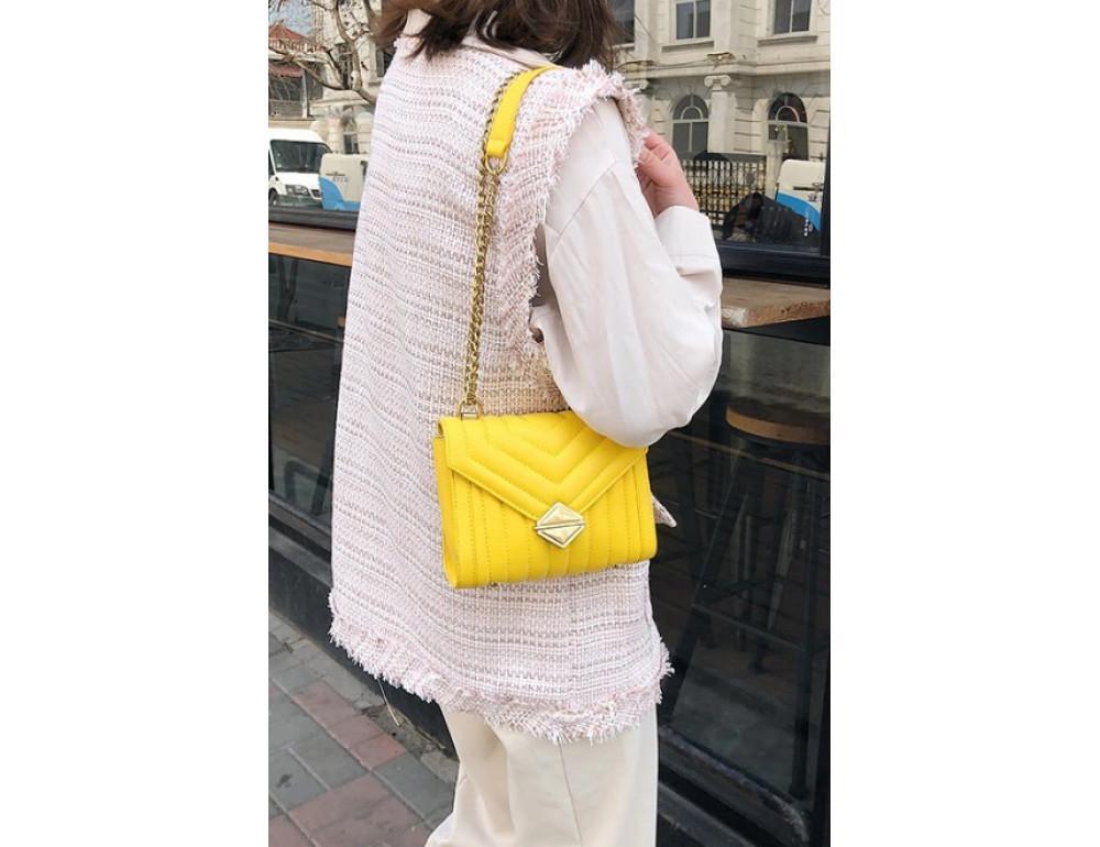 Милая женская сумка через плечо с цепочкой Ramiel 5-1Y Желтая - Фото № 3