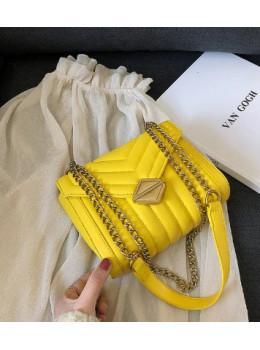 Милая женская сумка через плечо с цепочкой Ramiel 5-1Y Желтая