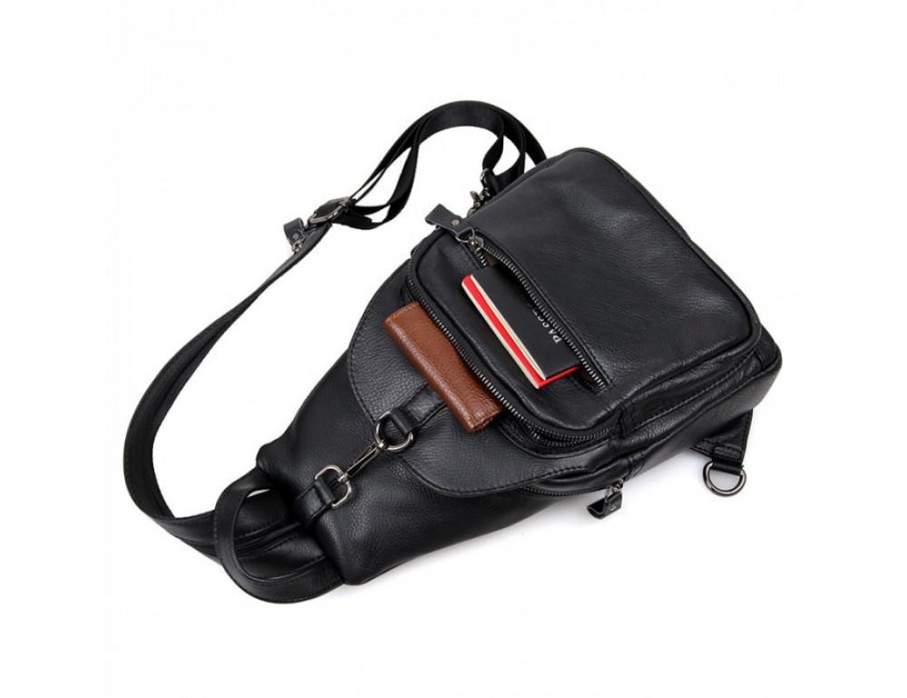 Кожаный рюкзак Tiding Bag 4005A унисекс черный - Фото № 5