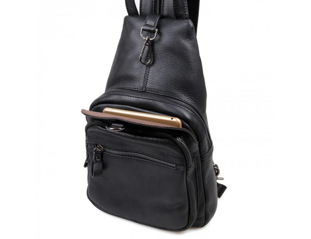 Кожаный рюкзак Tiding Bag 4005A унисекс черный - Фото № 6