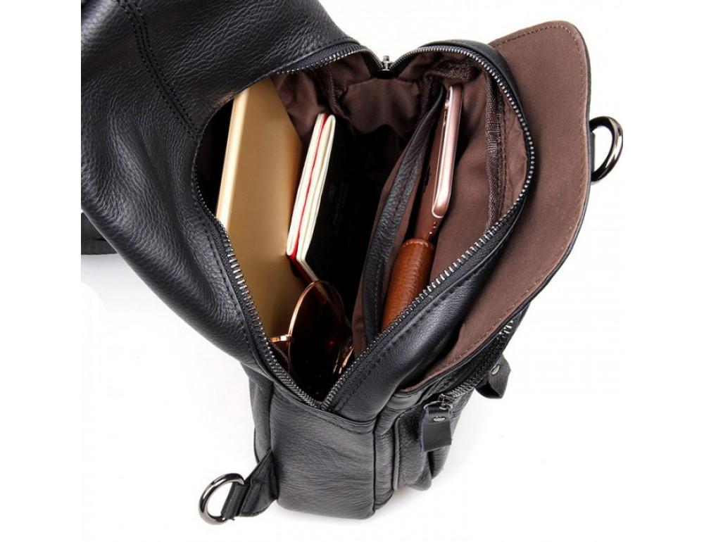 Кожаный рюкзак Tiding Bag 4005A унисекс черный - Фото № 8