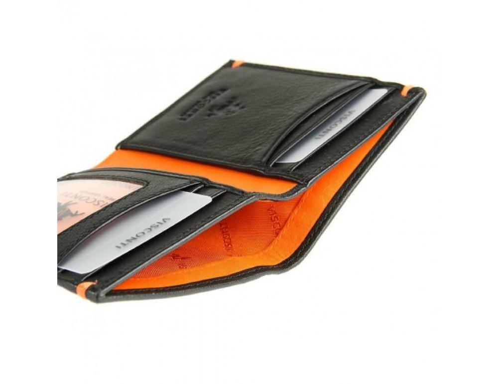 Мужской кожаный кошелек Visconti AP60 BLK/ORG Черный  - Фото № 4