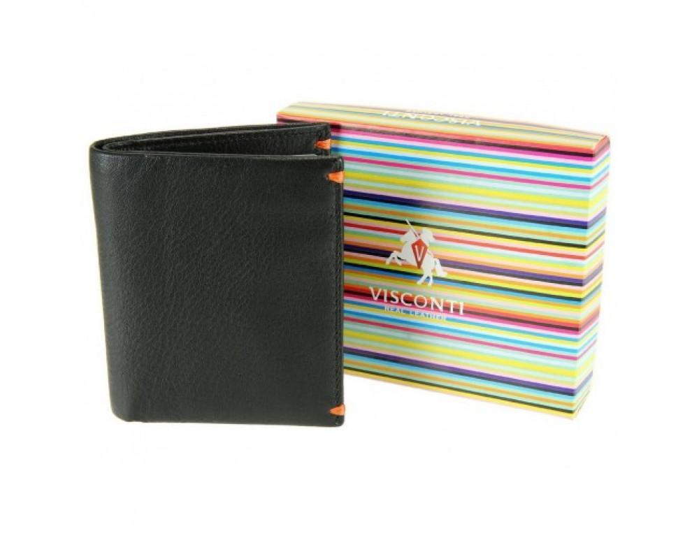 Мужской кожаный кошелек Visconti AP60 BLK/ORG Черный  - Фото № 6
