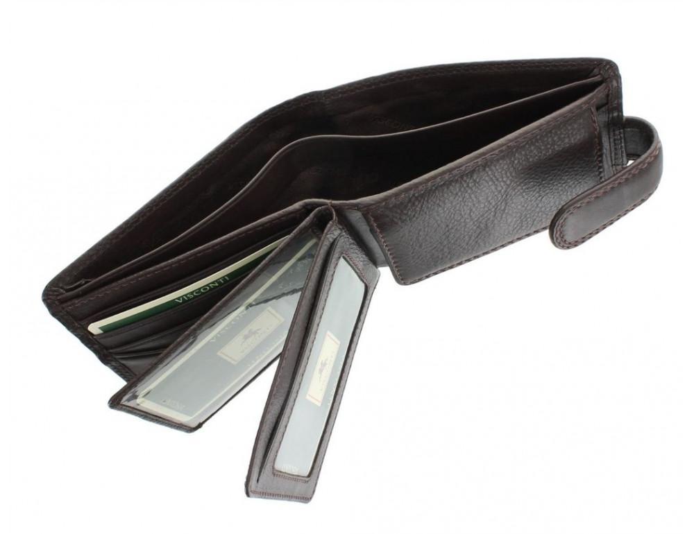 Коричневый мужской кожаный кошелек Visconti HT13 Strand choc - Фото № 4