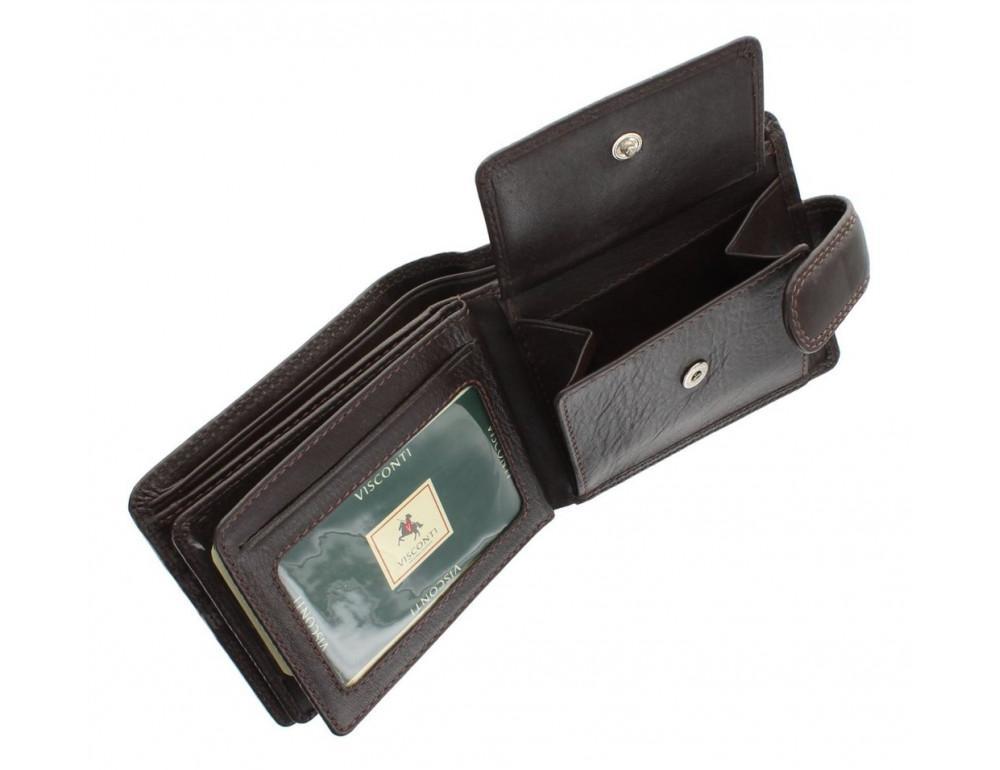 Коричневый мужской кожаный кошелек Visconti HT13 Strand choc - Фото № 5