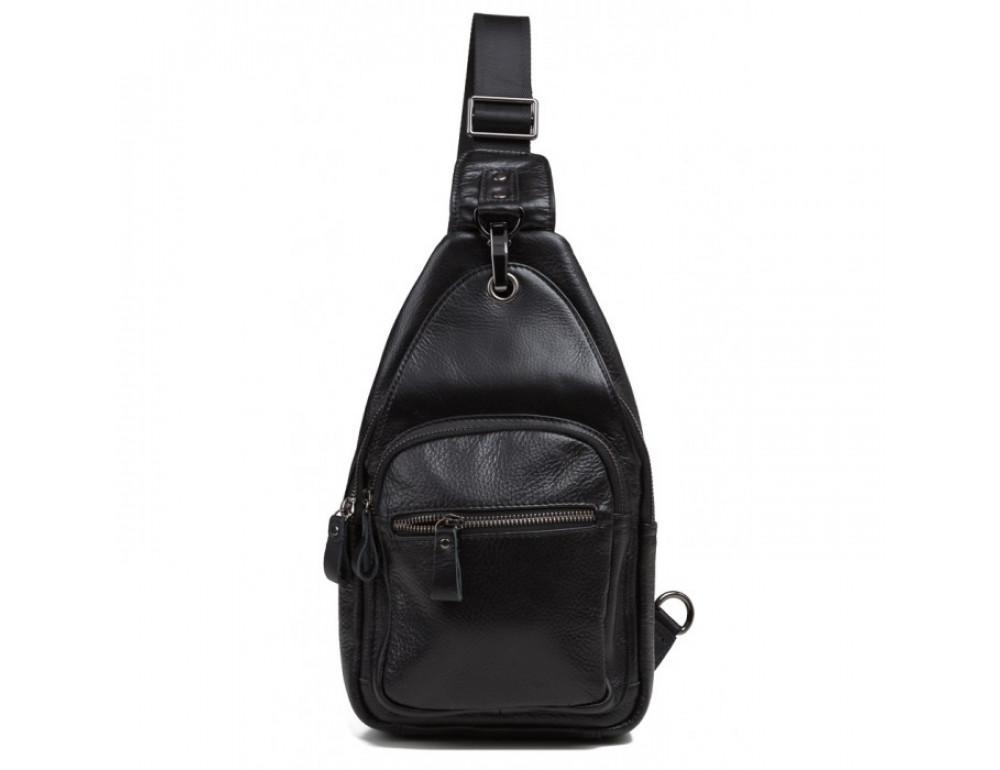 Чёрный кожаный мессенджер Tiding Bag 8509A - Фото № 2