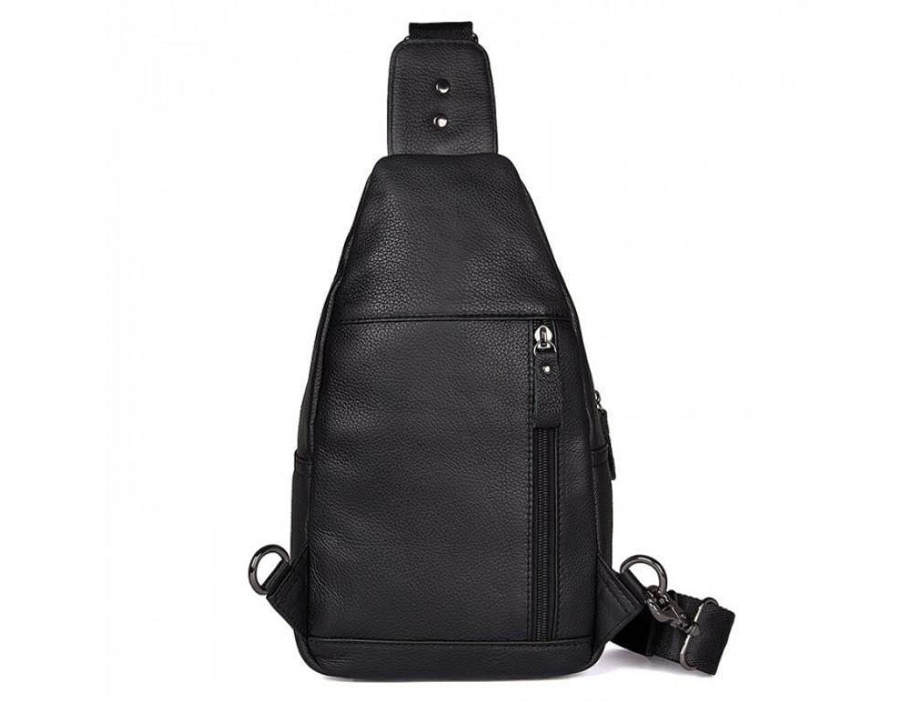 Чёрный кожаный мессенджер Tiding Bag 8509A - Фото № 3