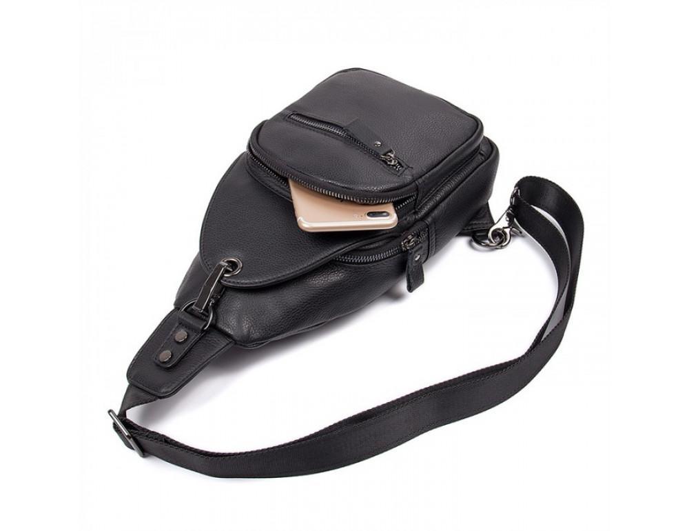 Чёрный кожаный мессенджер Tiding Bag 8509A - Фото № 4