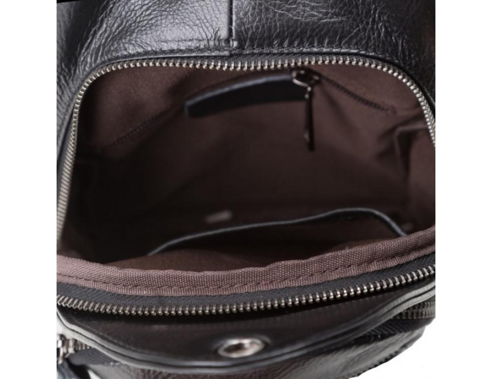 Чёрный кожаный мессенджер Tiding Bag 8509A - Фото № 5