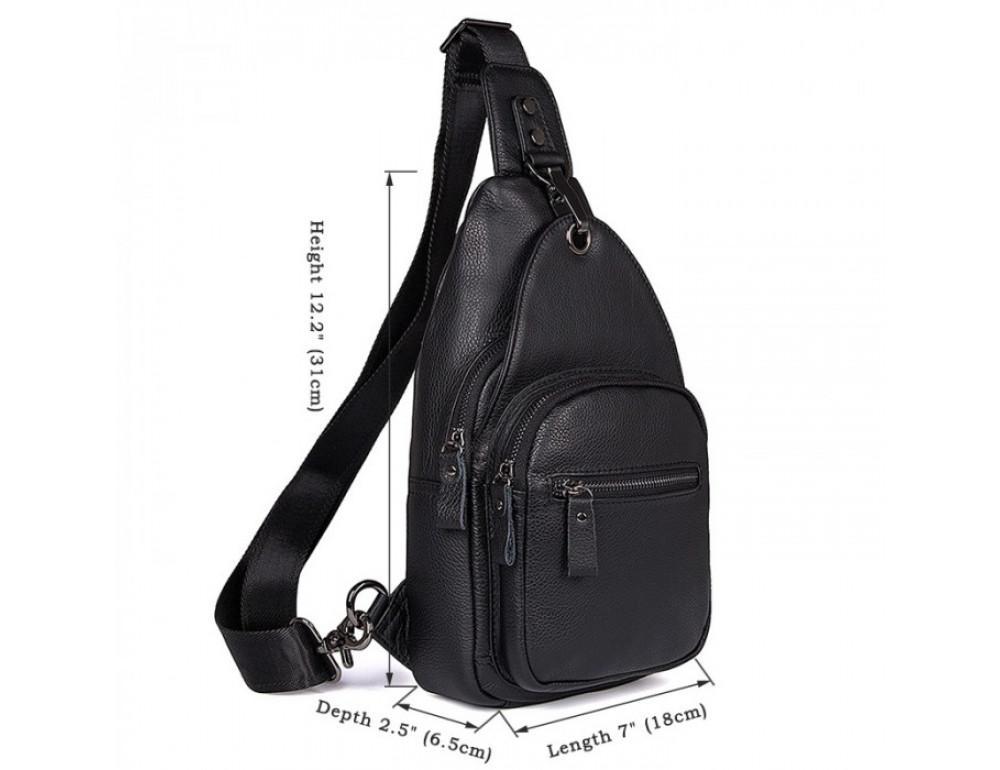 Чёрный кожаный мессенджер Tiding Bag 8509A - Фото № 7