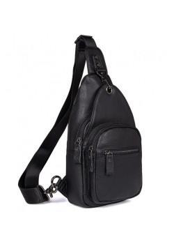 Чёрный кожаный мессенджер Tiding Bag 8509A