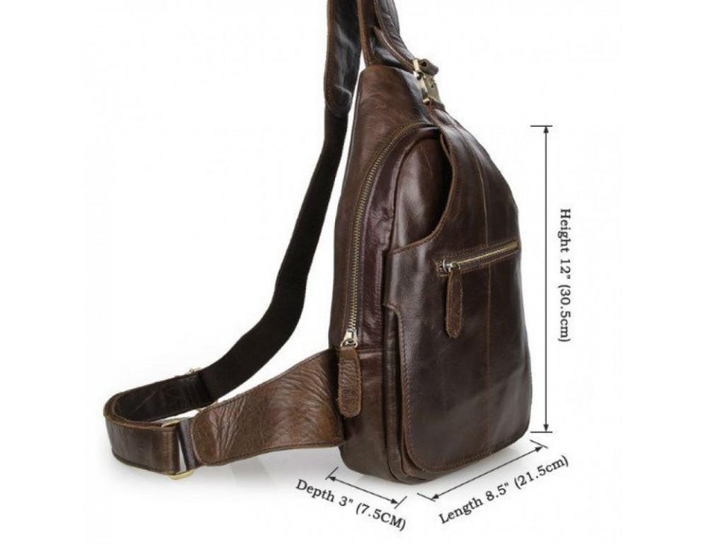 Мужская сумка на плечо TIDING BAG 2467C коричневая - Фото № 5