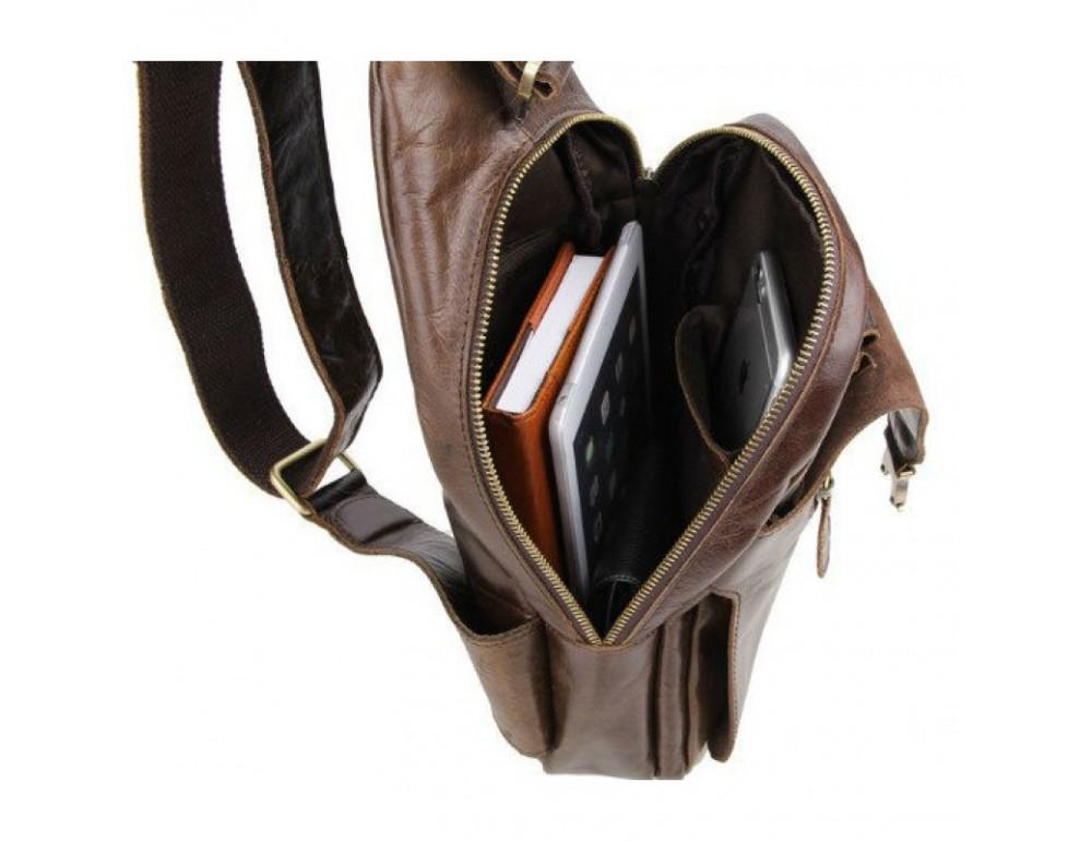 Мужская сумка на плечо TIDING BAG 2467C коричневая - Фото № 9