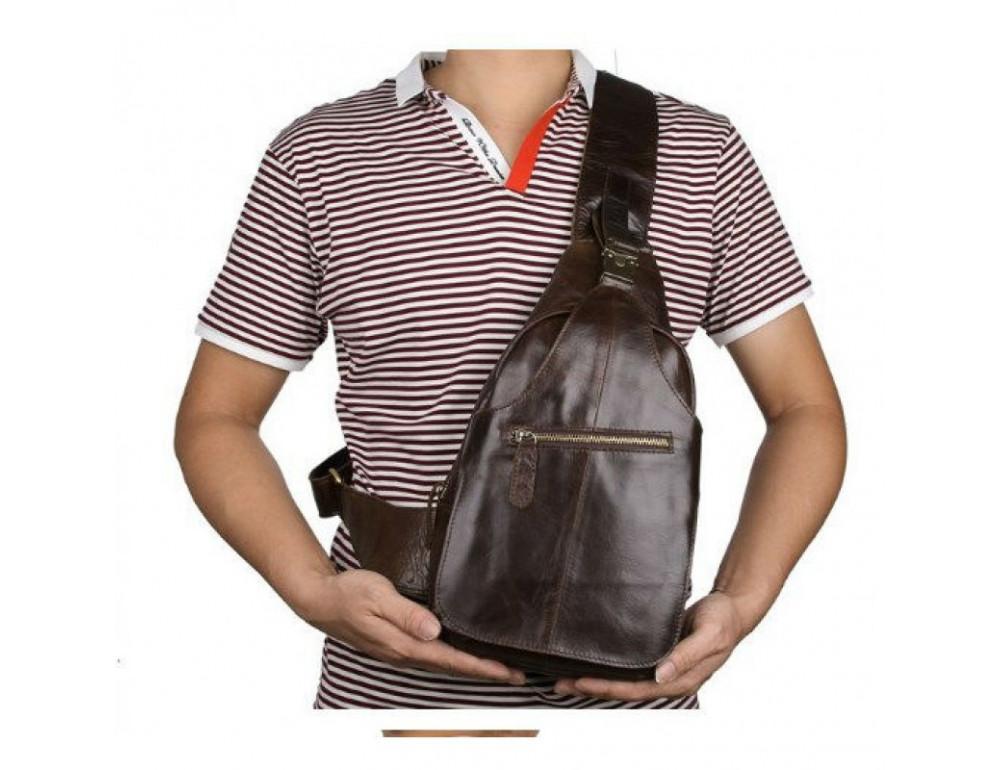 Мужская сумка на плечо TIDING BAG 2467C коричневая - Фото № 10