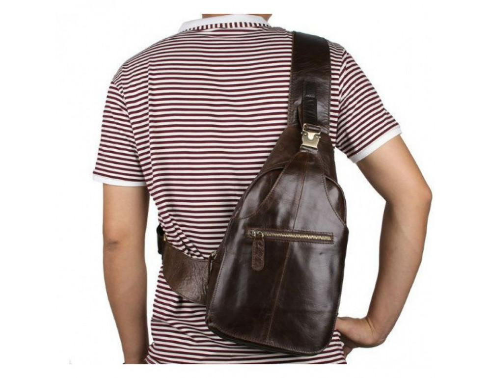 Мужская сумка на плечо TIDING BAG 2467C коричневая - Фото № 11