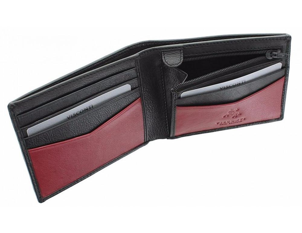 Мужской кожаный кошелек Visconti VSL20 BLK/RED с RFID чёрный с красным - Фото № 4