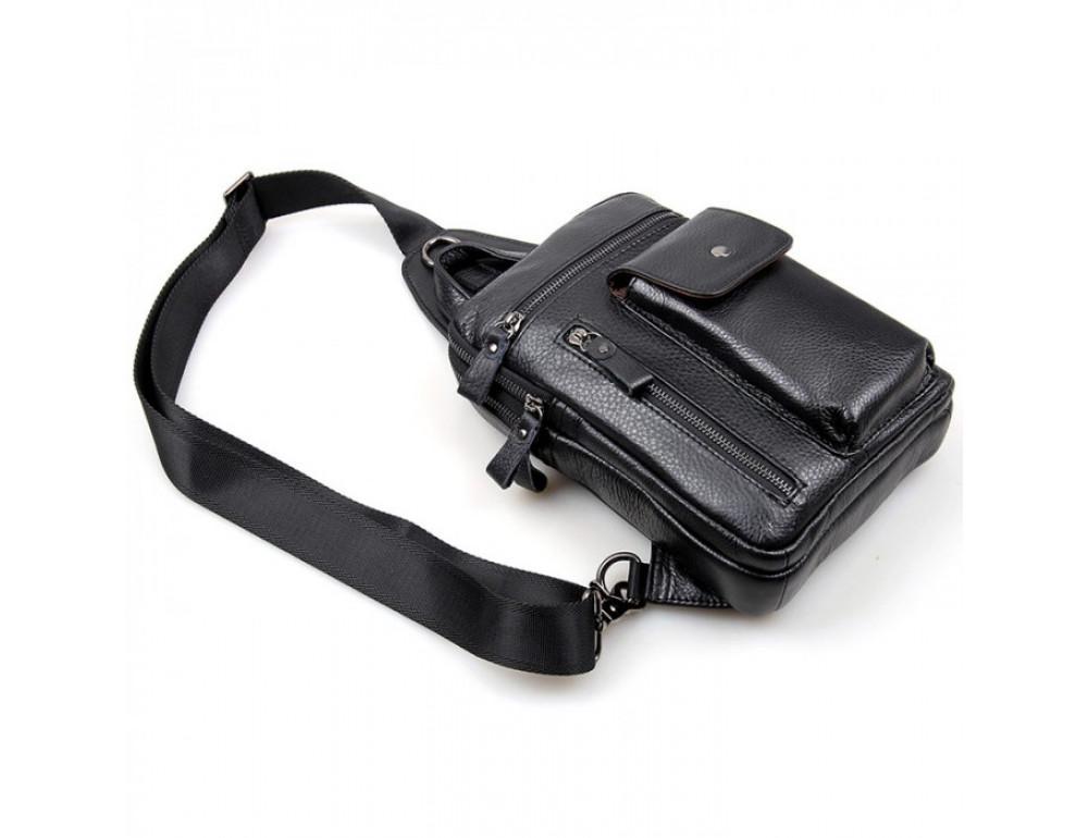 Чёрная сумка-мессенджер из кожи Tiding Bag 4006A - Фото № 3