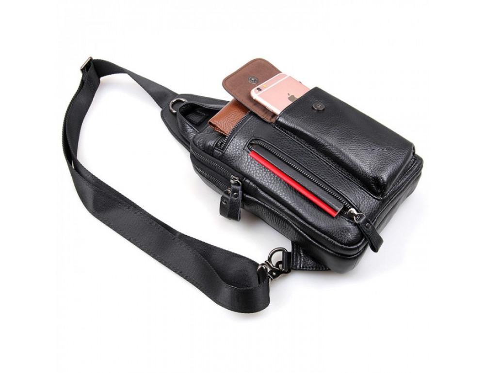 Чёрная сумка-мессенджер из кожи Tiding Bag 4006A - Фото № 4