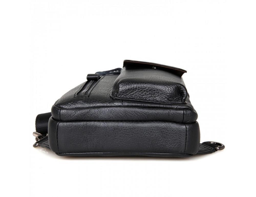 Чёрная сумка-мессенджер из кожи Tiding Bag 4006A - Фото № 5