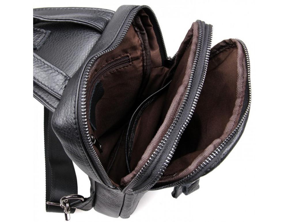 Чёрная сумка-мессенджер из кожи Tiding Bag 4006A - Фото № 2