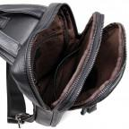 Чёрная сумка-мессенджер из кожи Tiding Bag 4006A - Фото № 101
