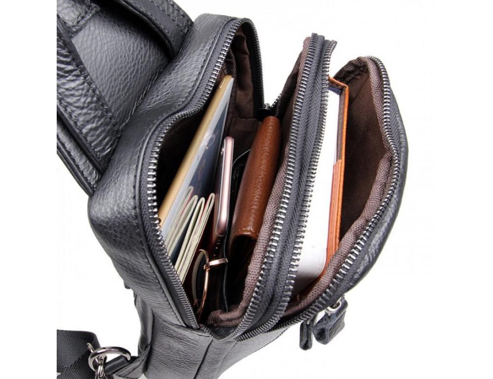 Чёрная сумка-мессенджер из кожи Tiding Bag 4006A - Фото № 6
