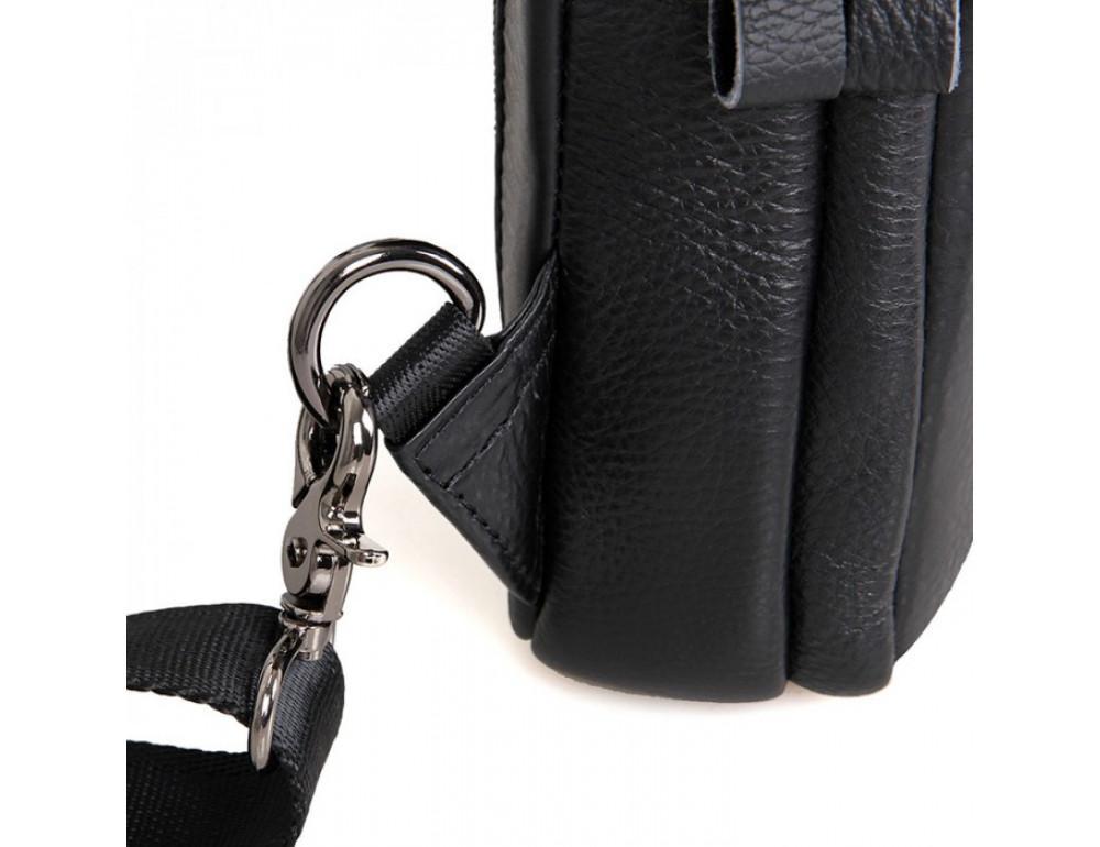 Чёрная сумка-мессенджер из кожи Tiding Bag 4006A - Фото № 7