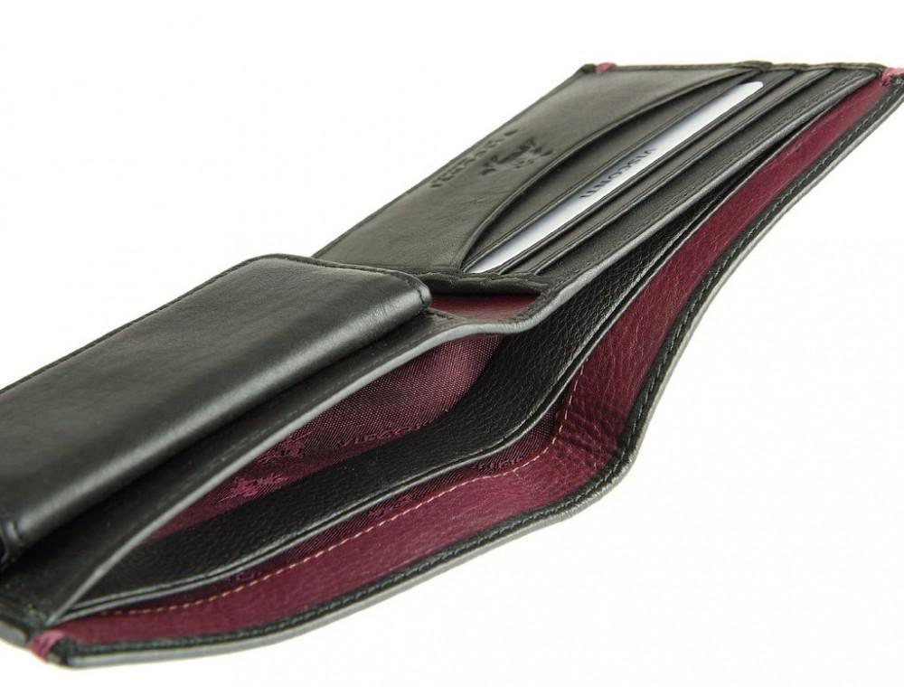 Мужской кожаный кошелек Visconti AP62 BLK/BG черный с винным - Фото № 4