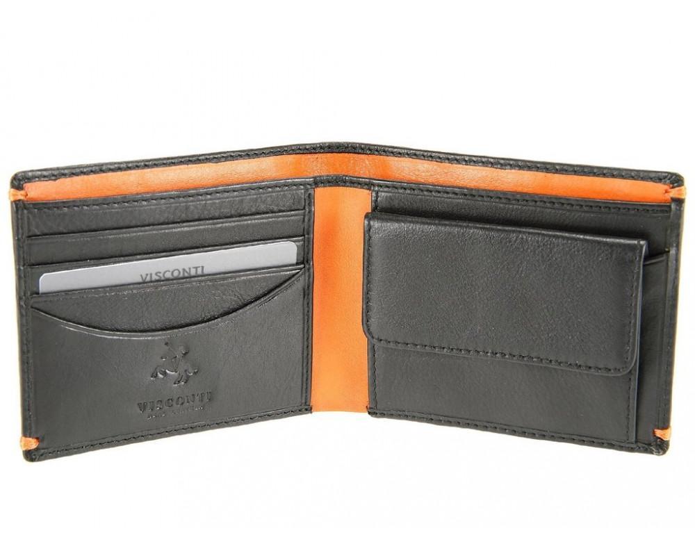 Мужской кожаный кошелек Visconti AP62 BLK/ORG черный с оранжевым - Фото № 4