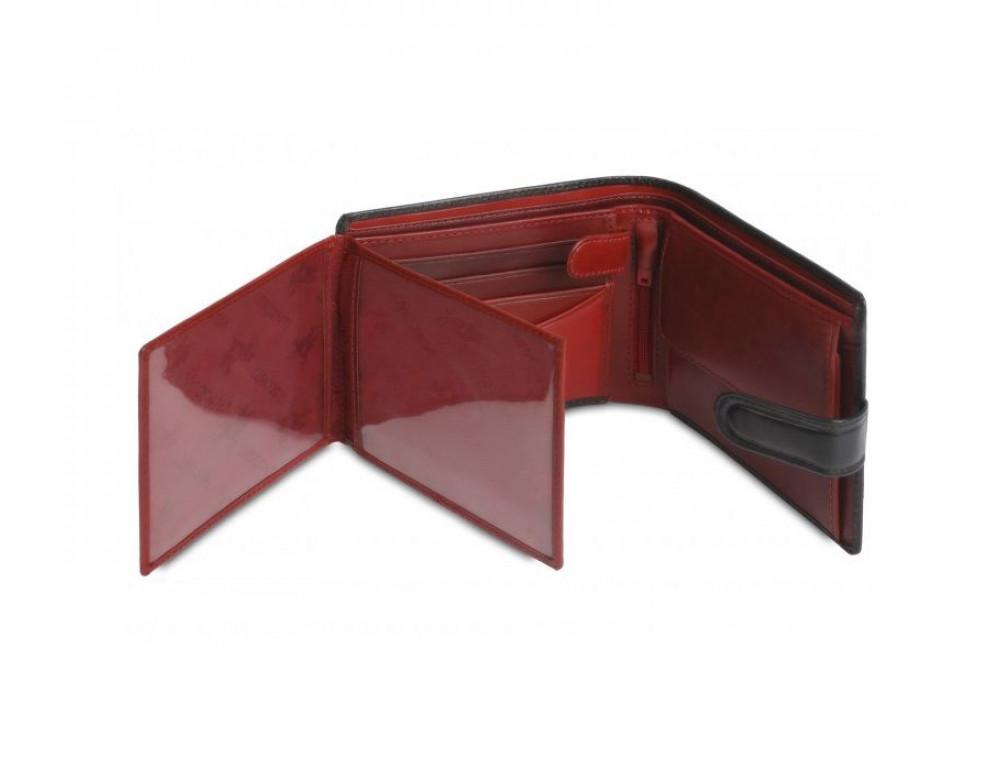 Мужской кожаный кошелек Visconti TR35 - Atlantis чёрный с красным - Фото № 4
