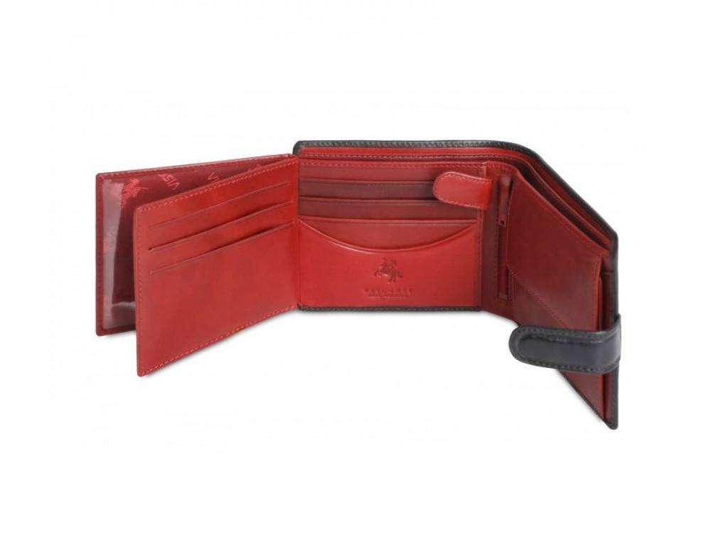 Мужской кожаный кошелек Visconti TR35 - Atlantis чёрный с красным - Фото № 2