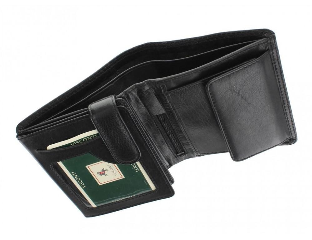 Чёрный мужской кошелек небольших размеров Visconti HT11 BLK  - Фото № 3