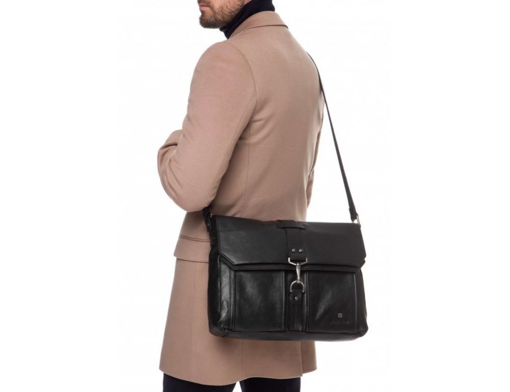 Чёрная кожаная сумка через плечо под ноутбук 15,6 Blamont P531711 - Фото № 2