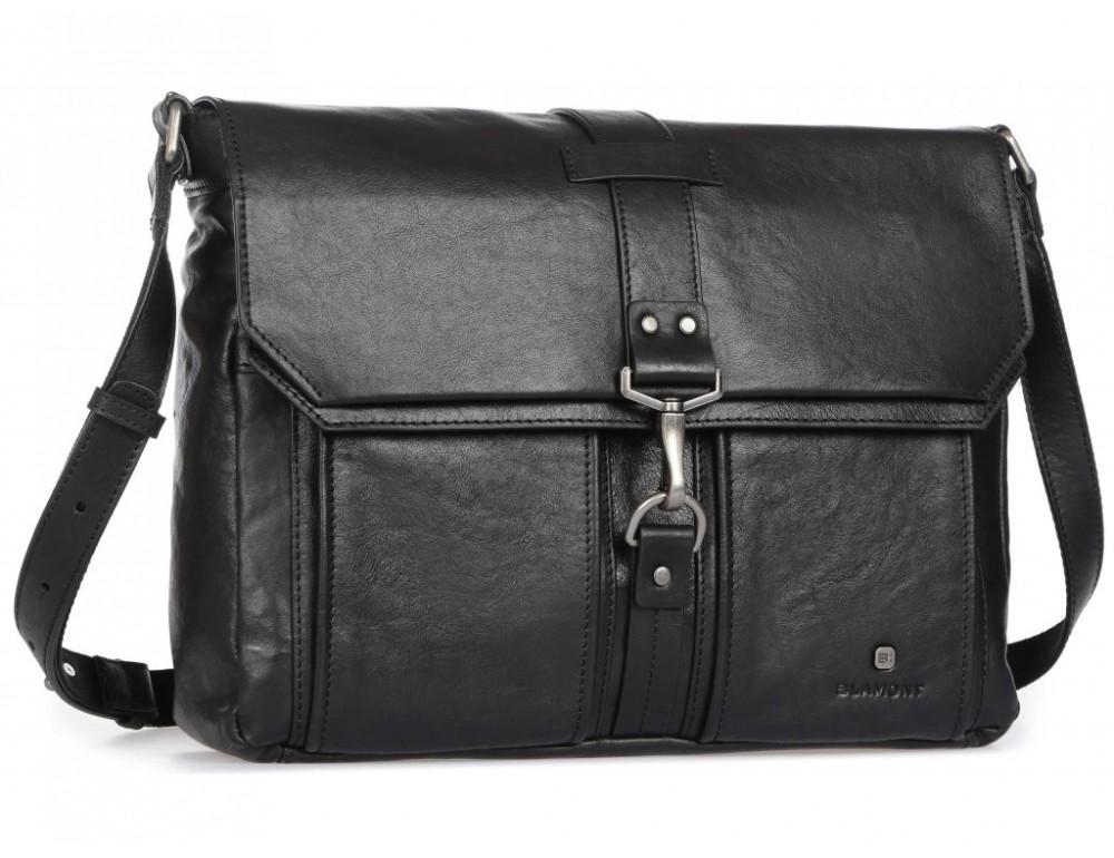 Чёрная кожаная сумка через плечо под ноутбук 15,6 Blamont P531711 - Фото № 1