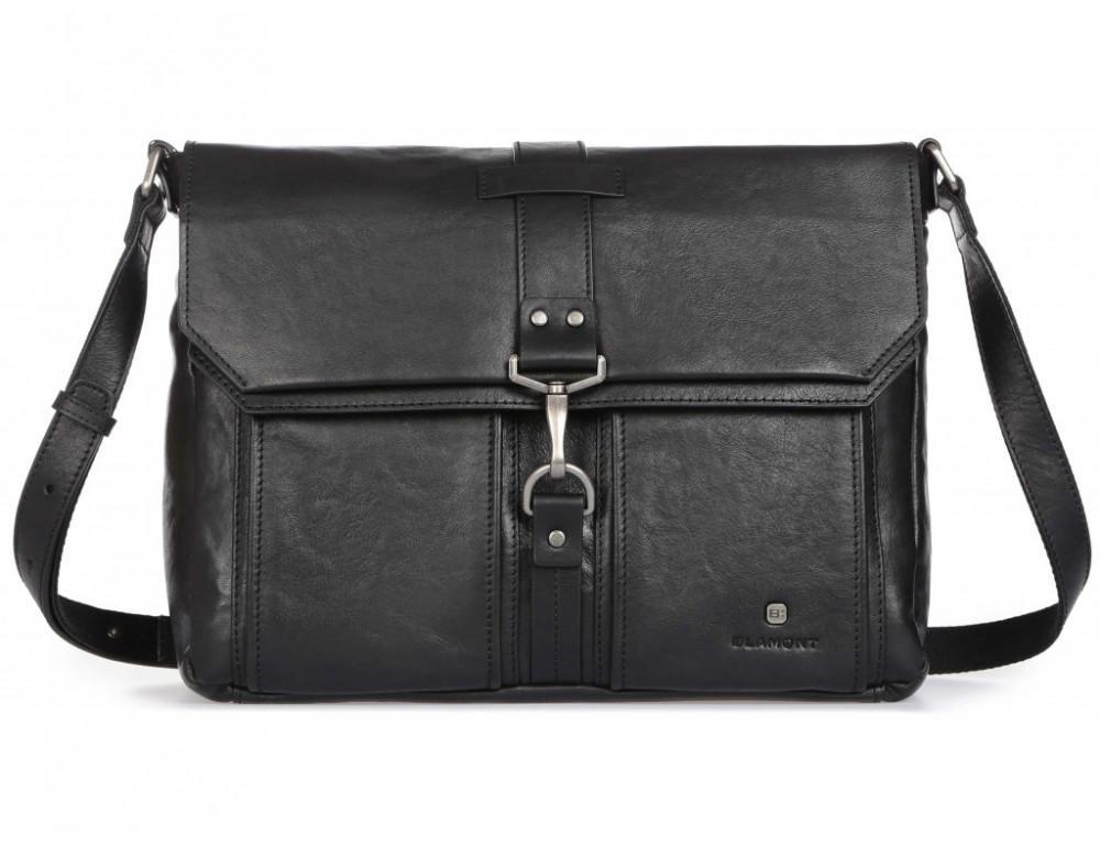 Чёрная кожаная сумка через плечо под ноутбук 15,6 Blamont P531711 - Фото № 3