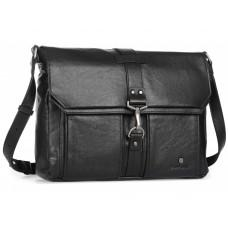 Чёрная кожаная сумка через плечо под ноутбук 15,6 Blamont P531711