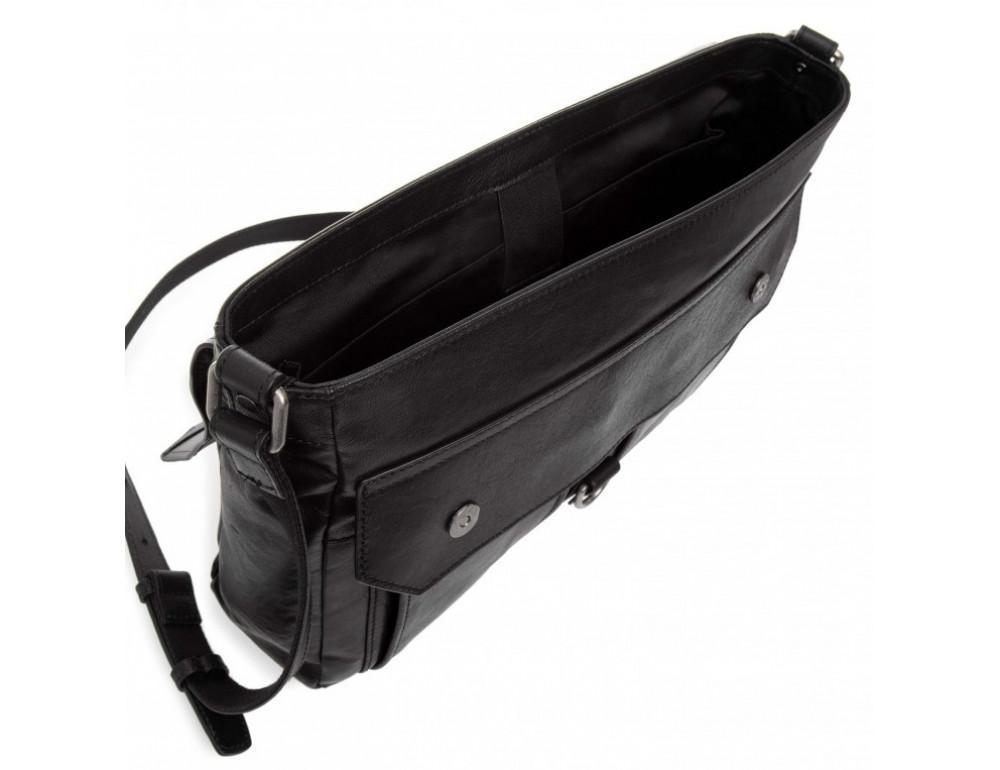 Чёрная кожаная сумка через плечо под ноутбук 15,6 Blamont P531711 - Фото № 4
