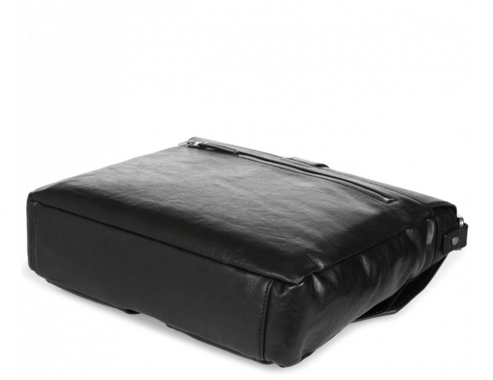 Чёрная кожаная сумка через плечо под ноутбук 15,6 Blamont P531711 - Фото № 7