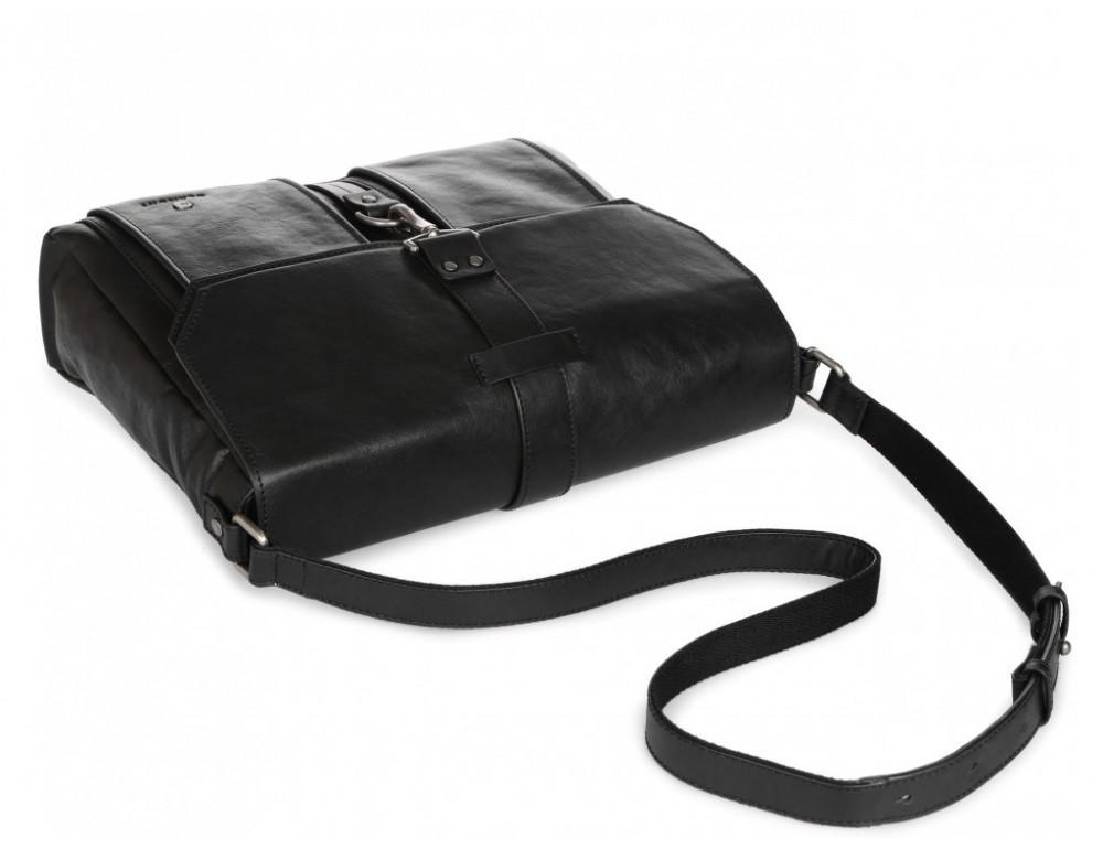 Чёрная кожаная сумка через плечо под ноутбук 15,6 Blamont P531711 - Фото № 8