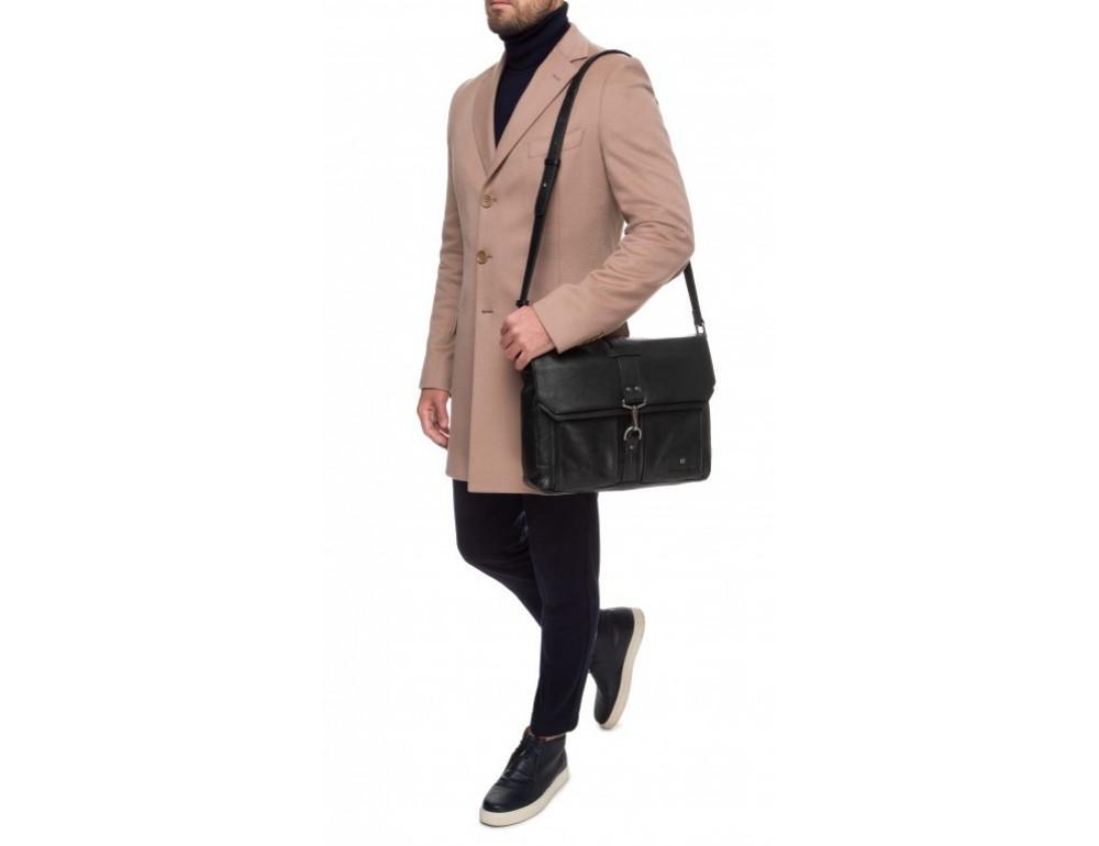 Чёрная кожаная сумка через плечо под ноутбук 15,6 Blamont P531711 - Фото № 9